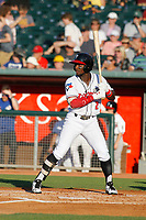 Lansing Lugnuts outfielder Chavez Young (2) at bat during a game against the Dayton Dragons at Cooley Law School Stadium on August 10, 2018 in Lansing, Michigan. Lansing defeated Dayton 11-4.  (Robert Gurganus/Four Seam Images)