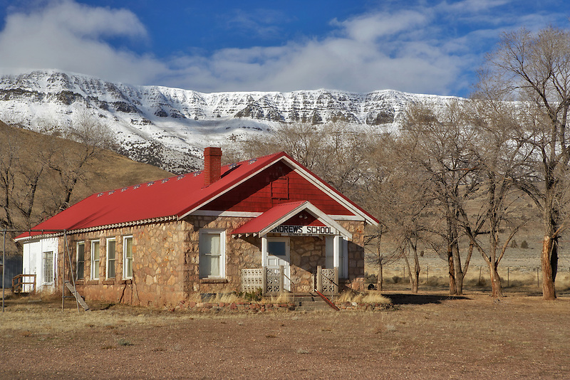 Andrews School with Steens Mountain. Oregon