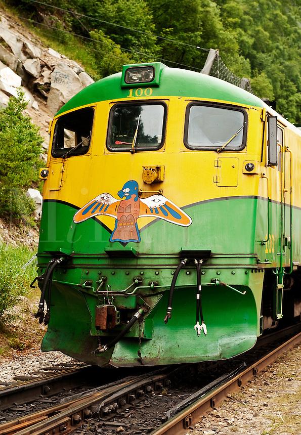 Sightseeing train cars in Skagway, Alaska, USA.