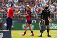 EAST HARTFORD, CT - JULY 5: Head Coach Vlatko Andonovski of the United States greets Lindsey Horan #9 of the United States as she is subbed out during a game between Mexico and USWNT at Rentschler Field on July 5, 2021 in East Hartford, Connecticut.