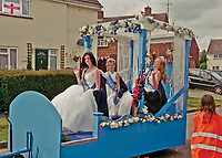 """Queen of Brightlingsea,Charleigh Street attended by Senior Princess Briony Armstrong and Junior Princess Skye Letchford.<br /> <br /> """"It was absolutely amazing for most of the day and then the heavens opened at about 4pm."""""""