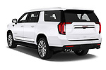 Car pictures of rear three quarter view of 2021 GMC Yukon-XL Denali 5 Door SUV Angular Rear