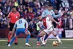 Atletico de Madrid's Saul Niguez and Alvaro Morata and Rayo Vallecano's  Mario Suarez during La Liga match. February 16,2019. (ALTERPHOTOS/Alconada)