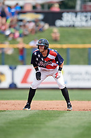 Quad Cities River Bandits left fielder Seth Beer (35) leads off second base during a game against the West Michigan Whitecaps on July 23, 2018 at Modern Woodmen Park in Davenport, Iowa.  Quad Cities defeated West Michigan 7-4.  (Mike Janes/Four Seam Images)
