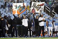CHAPEL HILL, NC - NOVEMBER 23: Play calling cards on the University of North Carolina sideline during a game between Mercer University and University of North Carolina at Kenan Memorial Stadium on November 23, 2019 in Chapel Hill, North Carolina.