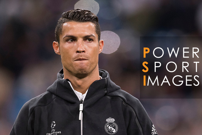 Cristiano Ronaldo of Real Madrid poses for photos during their 2016-17 UEFA Champions League match between Real Madrid vs Sporting Portugal at the Santiago Bernabeu Stadium on 14 September 2016 in Madrid, Spain. Photo by Diego Gonzalez Souto / Power Sport Images