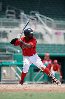 GCL Red Sox left fielder Juan Carlos Abreu (15) at bat during a game against the GCL Orioles on August 9, 2018 at JetBlue Park in Fort Myers, Florida.  GCL Red Sox defeated GCL Orioles 10-4.  (Mike Janes/Four Seam Images)