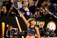 20th February 2021, Melbourne, Victoria, Australia; Naomi Osaka of Japan celebrates after winning the Women's Singles Final of the 2021 Australian Open on February 20 2021, at Melbourne Park in Melbourne, Australia.