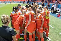 Houston, TX - Saturday May 13, Members of the Houston Dash huddle up prior to a regular season National Women's Soccer League (NWSL) match between the Houston Dash and Sky Blue FC at BBVA Compass Stadium. Sky Blue won the game 3-1.