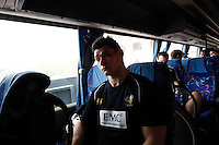 Photo: Richard Lane/Richard Lane Photography. London Wasps in Abu Dhabi for their LV= Cup game against Harlequins on 30th January 2011. 01/02/2011. Wasps' Tom Lindsay on the coach to the airport.