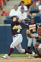 Arizona State Sun Devil shortstop Dustin Pedroia #2 during a NCAA regional playoff game against the California State University Titans at Goodwin Field on June 6, 2003 in Fullerton,California.(Larry Goren/Four Seam Images)