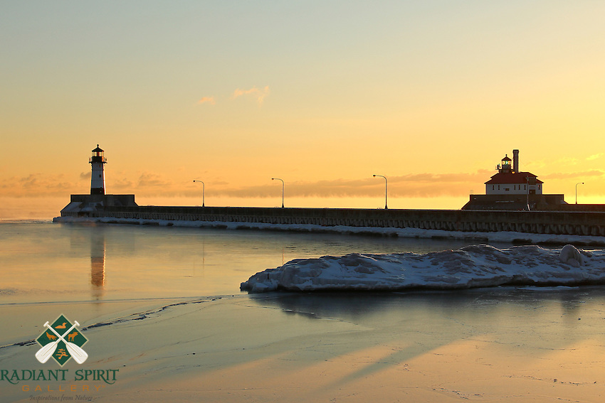 """""""Reflections and Shadows at Sunrise""""<br /> <br /> Shadows and reflections accent a beautiful subzero sunrise over Lake Superior."""