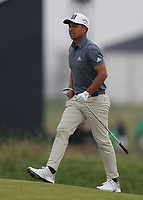 12th July 2021; The Royal St. George's Golf Club, Sandwich, Kent, England; The 149th Open Golf Championship, practice day; Xander Schauffele on the 18th fairway