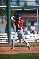 Coby Hobbs (5) of Shadow Ridge High School in Surprise, Arizona during the Baseball Factory All-America Pre-Season Tournament, powered by Under Armour, on January 13, 2018 at Sloan Park Complex in Mesa, Arizona.  (Mike Janes/Four Seam Images)