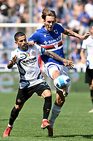 Stefano Sensi of FC Internazionale and Kristoffer Askildsen of UC Sampdoria compete for the ball during the Serie A football match between UC Sampdoria and FC Internazionale at stadio Marassi in Genova (Italy), September 12th, 2021. Photo Image Sport / Insidefoto