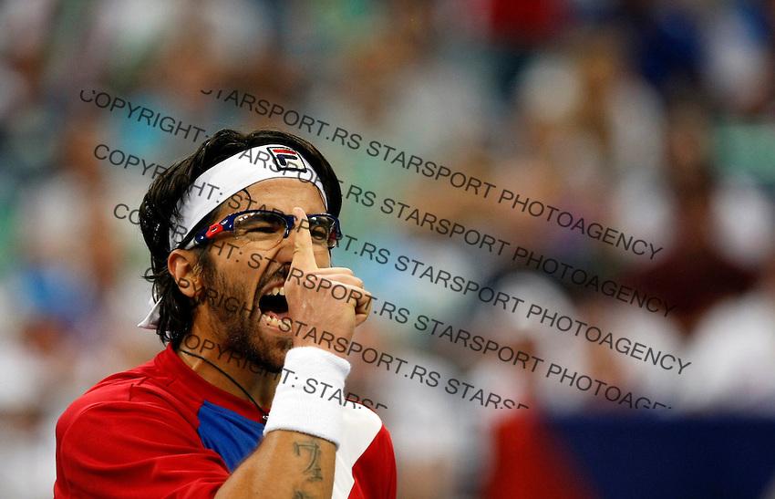 Tenis, Davis Cup 2010.Serbia Vs. Czech Republic, semifinals.Janko Tipsarevic Vs. Tomas Berdych.Janko Tipsarevic, react.Beograd, 17.09.2010..foto: Srdjan Stevanovic/Starsportphoto ©