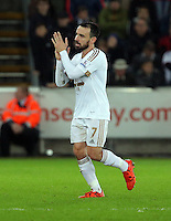 Leon Britton of Swansea comes off the pitch during the Barclays Premier League match between Swansea City and West Bromwich Albion played at the Liberty Stadium, Swansea on December 26 2015