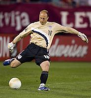 USA's Kasey Keller kicks the ball against Latvia.in Hartford, Ct, Sunday, May 28th, 2006.