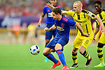 Manchester United midfielder Ander Herrera (L) defends the ball against Borussia Dortmund players during their 2016 International Champions Cup China match on 22 July 2016 held at the Shanghai Stadium in Shanghai, China. Photo by Marcio Machado / Power Sport Images