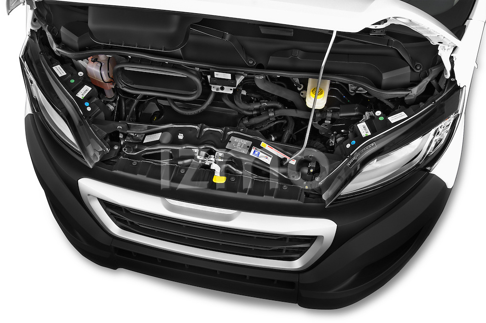 Car Stock 2015 Peugeot BOXER L4H2 4 Door Cargo Van Engine high angle detail view