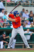 Midland RockHounds catcher David Freitas (23) at bat during the Texas League baseball game against the San Antonio Missions on July 13, 2013 at Nelson Wolff Municipal Stadium in San Antonio, Texas. The Missions defeated the Rock Hounds 5-4. (Andrew Woolley/Four Seam Images)