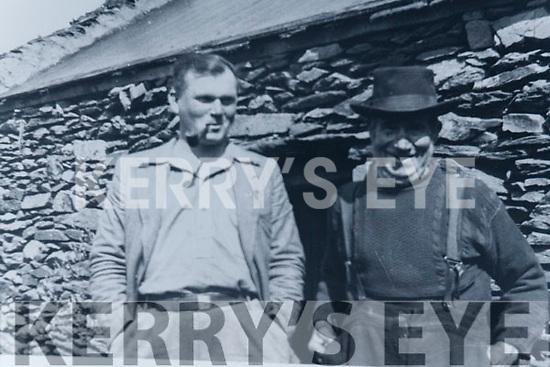 Muiris Ó Súilleabháin with his grandfather Sean-Eoghan Ó Súilleabháin outside their home on the Great Blasket Island in 1932