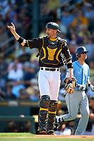 Pittsburgh Pirates catcher Chris Stewart (19) during a Spring Training game against the Tampa Bay Rays on March 10, 2017 at LECOM Park in Bradenton, Florida.  Pittsburgh defeated New York 4-1.  (Mike Janes/Four Seam Images)