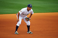 Pensacola Blue Wahoos third baseman Ray Chang (7) during the second game of a double header against the Biloxi Shuckers on April 26, 2015 at Pensacola Bayfront Stadium in Pensacola, Florida.  Pensacola defeated Biloxi 2-1.  (Mike Janes/Four Seam Images)