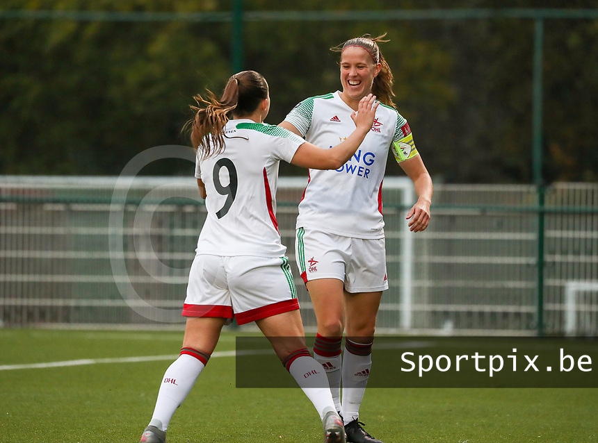 (Left to right) Hannah Eurlings of OHL (9) celebrates her goal with Lenie Onzia of OHL (8)  during a female soccer game between Oud Heverlee Leuven and Femina White Star Woluwe  on the 5 th matchday of the 2020 - 2021 season of Belgian Womens Super League , Sunday 18 th of October 2020  in Heverlee , Belgium . PHOTO SPORTPIX.BE | SPP | SEVIL OKTEM
