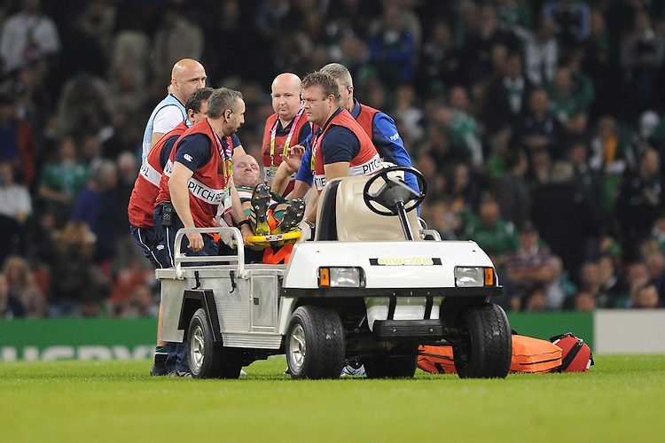 Paul O'Connell of Ireland is stretchered off at half time during Match 39 of the Rugby World Cup 2015 between France and Ireland - 11/10/2015 - Millennium Stadium, Cardiff<br /> Mandatory Credit: Rob Munro/Stewart Communications