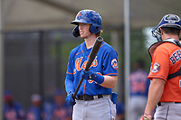 New York Mets Brett Baty (96) bats during a Minor League Spring Training game against the Houston Astros on April 27, 2021 at FITTEAM Ballpark of the Palm Beaches in Palm Beach, Fla.  (Mike Janes/Four Seam Images)