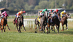 September 07, 2015.  Pure Sensation (#4, green cap), Kendrick Carmouche up, wins the Grade III Turf Monster Handicap Stakes, five furlongs, for three-year-olds and upward, at  Parx Racing in Bensalem, PA. Trainer is Christophe Clement; owner is Patricia Generazio. (Joan Fairman Kanes/ESW/CSM)
