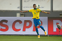 13th October 2020; National Stadium of Peru, Lima, Peru; FIFA World Cup 2022 qualifying; Peru versus Brazil;  Renan Lodi of Brazil brings down a difficult ball