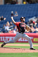 Tampa Spartans pitcher David Heintz (32) delivers a pitch during an exhibition game against the Philadelphia Phillies on March 1, 2015 at Bright House Field in Clearwater, Florida.  Tampa defeated Philadelphia 6-2.  (Mike Janes/Four Seam Images)