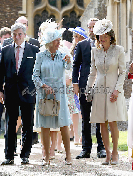 05 July 2015 - King's Lynn, United Kingdom - Camilla Duchess of Cornwall, Michael Middleton, James Middleton and Carole Middleton. The Christening of Princess Charlotte of Cambridge at the Church of St Mary Magdalene on the Sandringham Estate. Photo Credit: Alpha Press/AdMedia