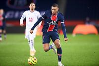 24th December 2020; Paris, France; French League 1 football, Paris St Germain versus Strasbourg; KYLIAN MBAPPE PSG breaks forward on the ball