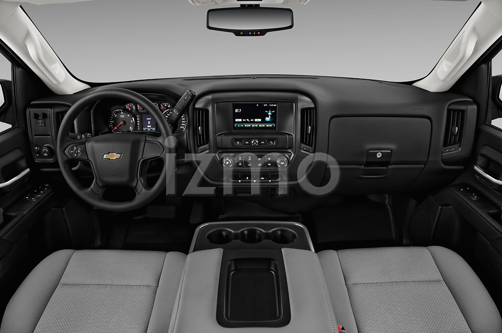 Stock photo of straight dashboard view of a 2018 Chevrolet Silverado 2500HD Work Truck Regular Cab  2 Door Pick Up