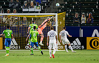 CARSON, CA - SEPTEMBER 27: Stefan Frei #24 GK of the Seattle Sounders clears a ball from the box during a game between Seattle Sounders FC and Los Angeles Galaxy at Dignity Heath Sports Park on September 27, 2020 in Carson, California.