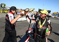 Jul 30, 2017; Sonoma, CA, USA; NHRA top fuel driver Steve Torrence celebrates with crew after winning the Sonoma Nationals at Sonoma Raceway. Mandatory Credit: Mark J. Rebilas-USA TODAY Sports