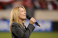 United States national anthem singer. The men's national team of the United States (USA) was defeated by Ecuador (ECU) 1-0 during an international friendly at Red Bull Arena in Harrison, NJ, on October 11, 2011.