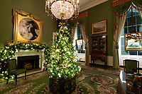 2020 White House Christmas<br /> <br /> The Green Room of the White House is seen decorated for the Christmas season Sunday, Nov. 29, 2020. (Official White House Photo by Andrea Hanks