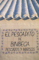 Europe/Espagne/Baléares/Minorque/Binibeca : Enseigne d'un restaurant