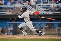Mahoning Valley Scrappers left fielder Hosea Nelson (2) hits a double during a game against the Batavia Muckdogs on August 16, 2017 at Dwyer Stadium in Batavia, New York.  Batavia defeated Mahoning Valley 10-6.  (Mike Janes/Four Seam Images)