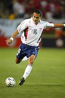 Ryan Suarez of the U.S. National team kicks the ball against Wales at Spartan Stadium, in San Jose, Calif., Monday, May 26, 2003. The USA won 2-0.