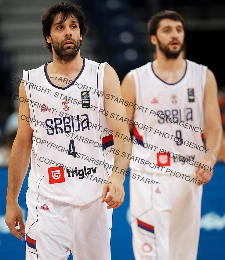 Kosarka FIBA Olympic Basketball Qualifying Tournament<br /> Srbija v Puerto Rico<br /> Milos Teodosic (L) and Stefan Markovic<br /> Beograd, 04.07.2016.<br /> foto: Srdjan Stevanovic/Starsportphoto©