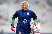 ORLANDO CITY, FL - FEBRUARY 21: Jane Campbell #18 of the USWNT warms up before a game between Brazil and USWNT at Exploria Stadium on February 21, 2021 in Orlando City, Florida.