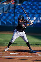 Missoula Osprey Jose Reyes (20) at bat during a Pioneer League game against the Great Falls Voyagers at Centene Stadium at Legion Park on August 19, 2019 in Great Falls, Montana. Missoula defeated Great Falls 4-1 in the first game of a doubleheader. Games were moved from Missoula after Ogren Park at Allegiance Field, the Osprey's home field, was ruled unplayable. (Zachary Lucy/Four Seam Images)