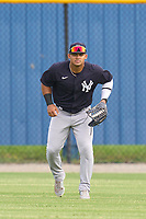 New York Yankees outfielder Jasson Dominguez (25) during warmups before an Extended Spring Training game against the Detroit Tigers on June 19, 2021 at the Joker Marchant Stadium in Lakeland, Florida.  (Mike Janes/Four Seam Images)
