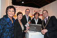 NO FEE PICTURES.25/1/13 Maureen Ledwith, Director Holiday World, Lord Mayor of Dublin is Naoise Ó Muirí and Clare Dunne, President ITAA with Ben Greene and Sandra Gough Arrow Tours at the Holiday World Show at the RDS, Dublin. Picture:Arthur Carron/Collins