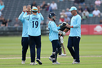 Essex players celebrate the run out of James Bracey during Gloucestershire vs Essex Eagles, Royal London One-Day Cup Cricket at the Bristol County Ground on 3rd August 2021